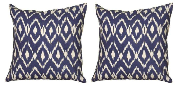 S/2 Ikat 18x18 Cotton Pillows, Navy