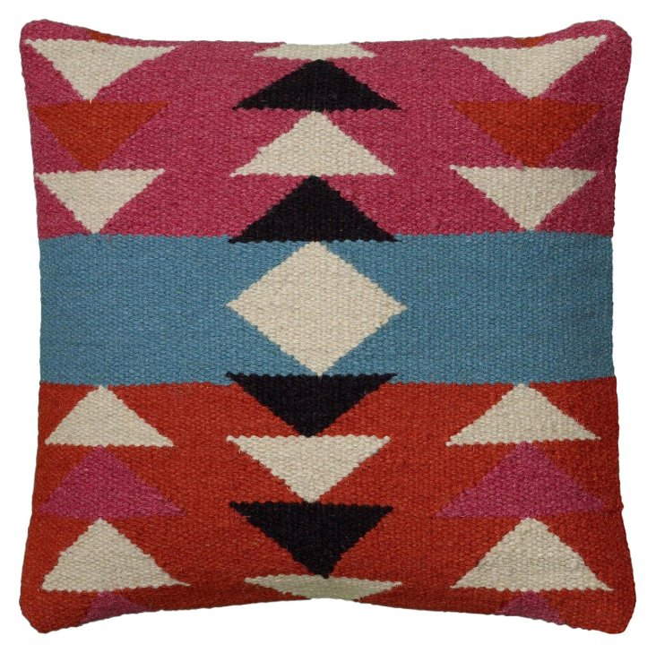 Lily 18x18 Wool Pillow, Pink