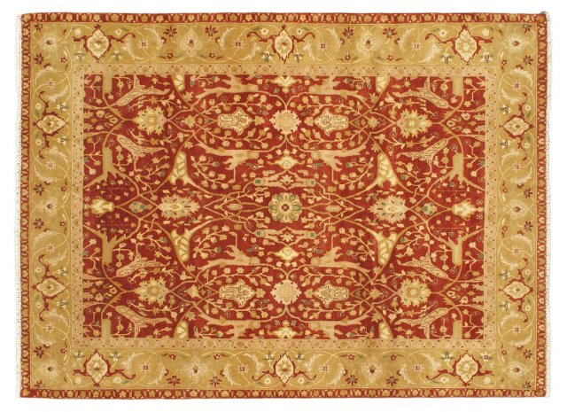 "8'x10'10"" Taj Mahal Rug, Light Brown/Red"