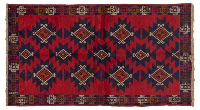 "3'4""x6'1"" Tribal Bahor Rug, Red"