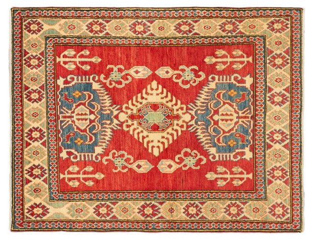 "3'10""x5' Finest Gazni Rug, Red/Tan"