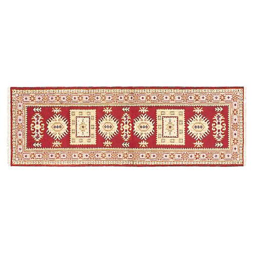 3'x8' Royal Kazak Runner, Dark Red