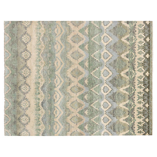 8'x10' Ikat Royale Rug, Ivory/Green