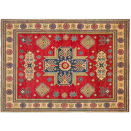 "7'8""x10'10"" Gazni Hand-Knotted Rug, Red/Multi"