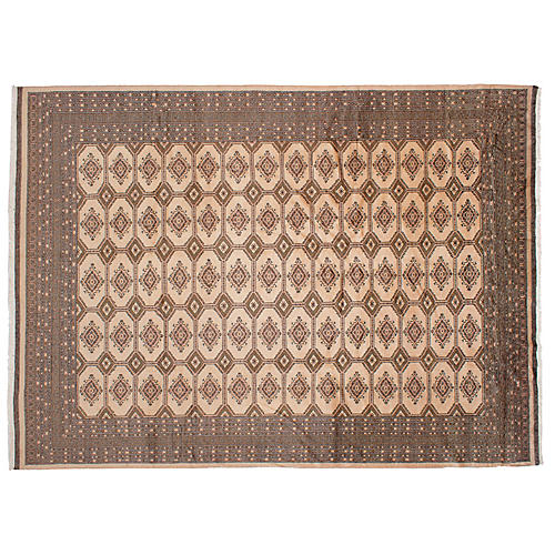 "9'x12'8"" Peshawar Bokhara Hand-Knotted Rug, Sand"