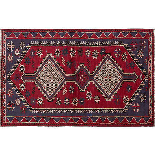 "4'11""x7'7"" Shiraz Hand-Knotted Rug, Red/Navy"
