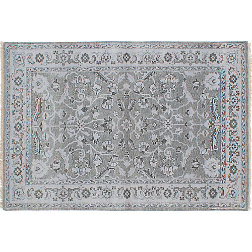 "4'1""x5'10"" Oushak Hand-Knotted Rug, Gray"