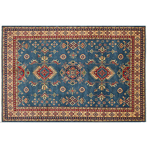 "8'5""x12'11"" Gazni Hand-Knotted Rug, Light Denim"