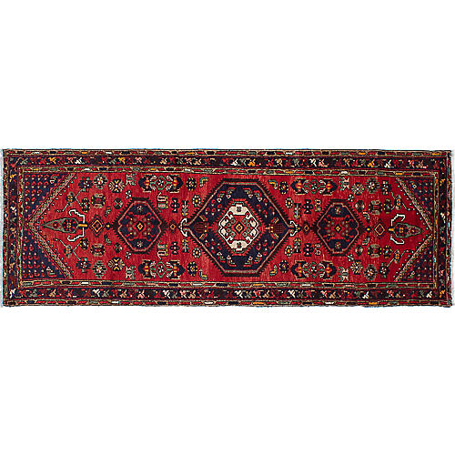 "3'4""x9'8"" Hamadan Flat-Weave Runner, Red/Navy"
