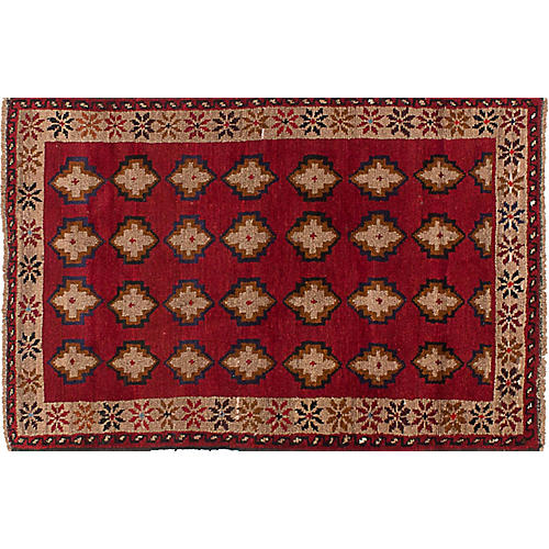 "2'9""x4'3"" Baluch Hand-Knotted Rug, Red"