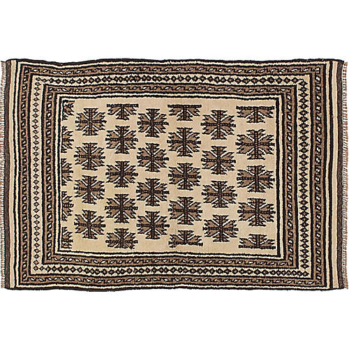 """3'2""""x4'7"""" Transition Hand-Knotted Rug, Cream/Tan"""