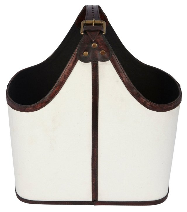 Leather Magazine Basket, White