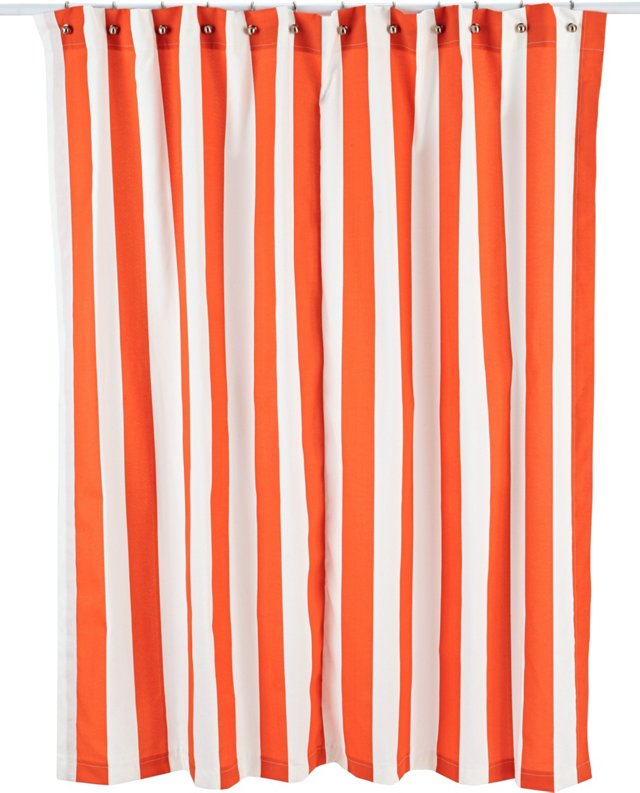 Vertical Striped Shower Curtain, Orange