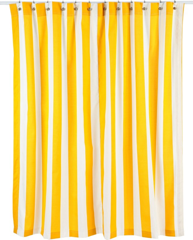Vertical Striped Shower Curtain, Yellow