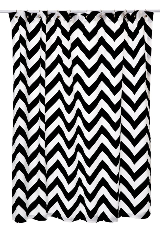 Chevron Shower Curtain, Black/White