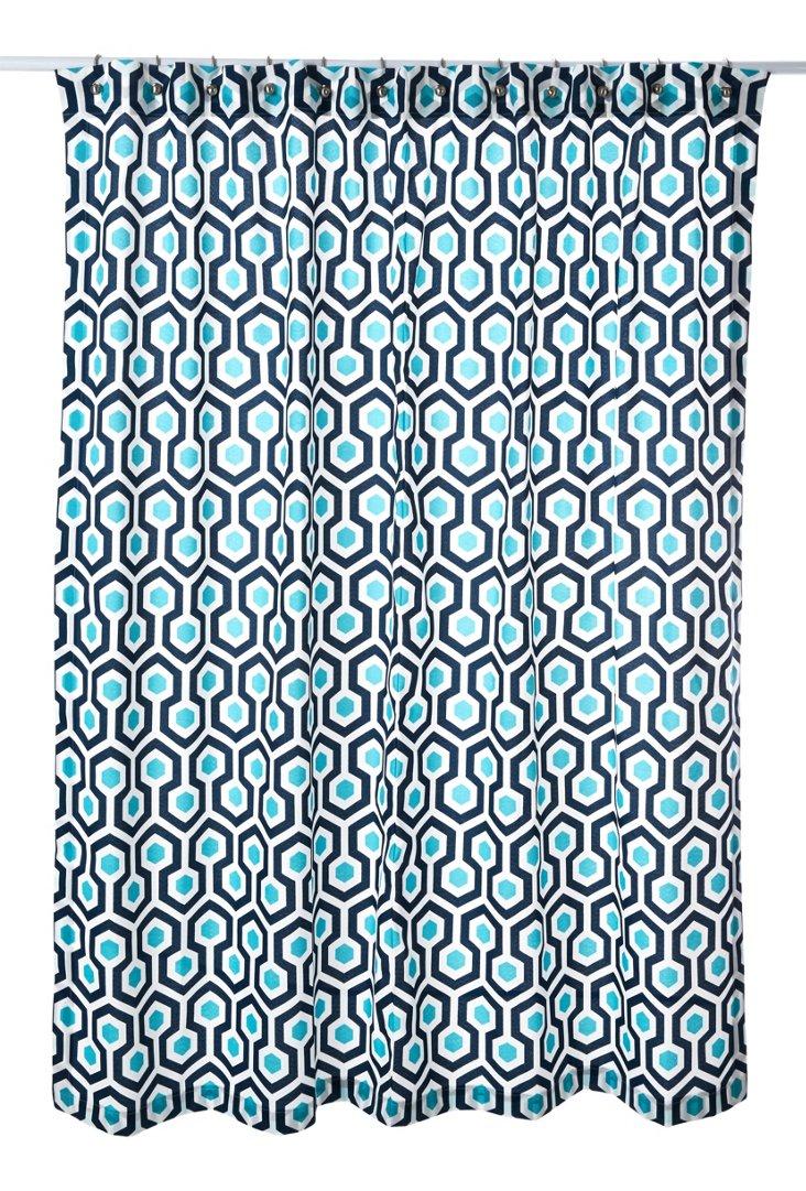 Oxford Magna Shower Curtain, Navy/Aqua