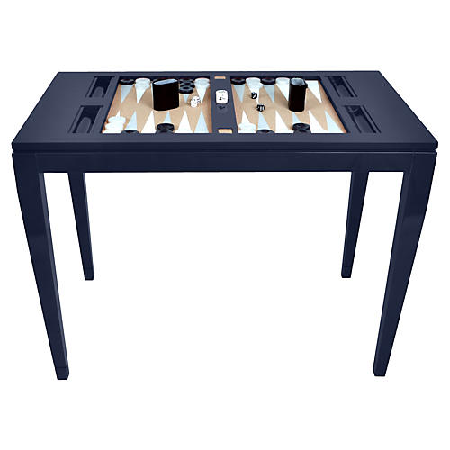 Backgammon Game Table, Navy