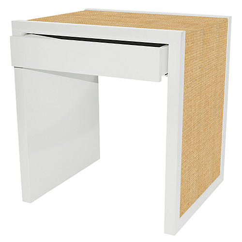 Harbour Island Side Table, White/Natural