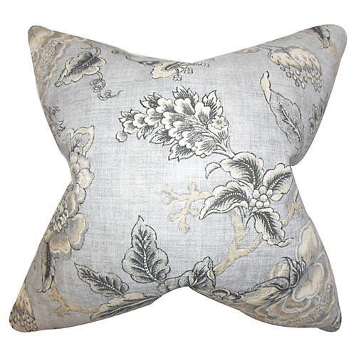 Floral Pillow, Gray Linen