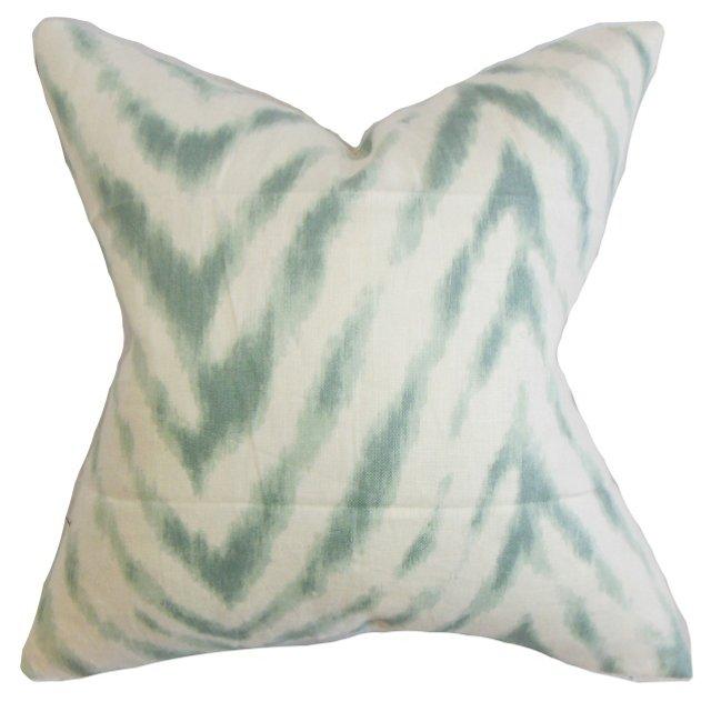 Animal 18x18 Cotton Pillow, Aqua/Ivory