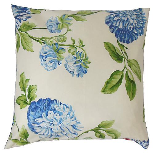 Zarina 20x20 Floral Pillow, Blue