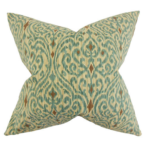Ennis 20x20 Ikat Pillow, Aqua