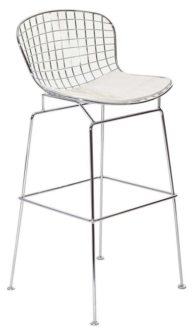 *IK Wynn Wire Barstool, Silver/White