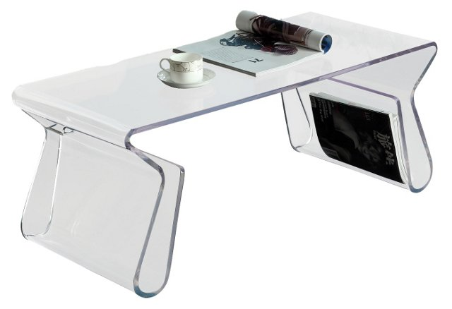 Flora Rectangle Coffee Table, Clear