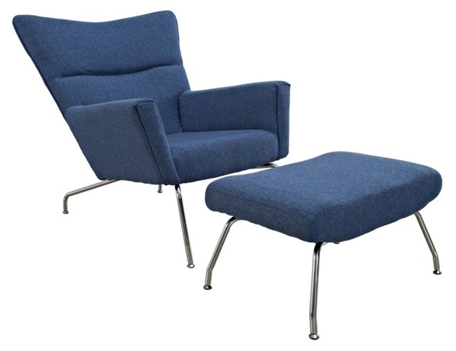 *IK Claire Chair & Ottoman, Blue Tweed
