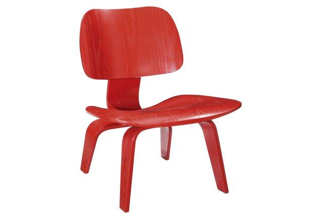 *IK Colbert Wood Lounge Chair, Red