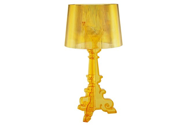 French Acrylic Table Lamp, Yellow