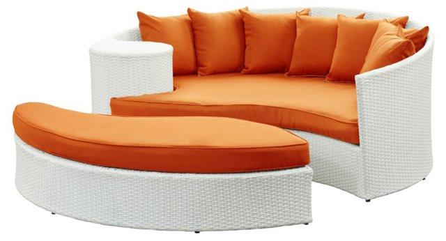 Ipanema Daybed w/ Ottoman, White/Orange