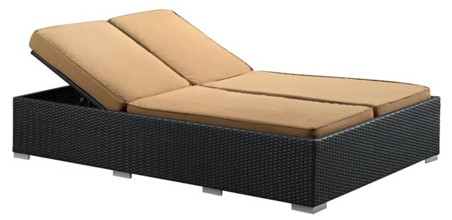 Evince 2-Seater Chaise, Espresso/Mocha