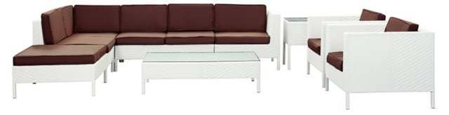 Sierra 9-Pc Sectional, White/Brown