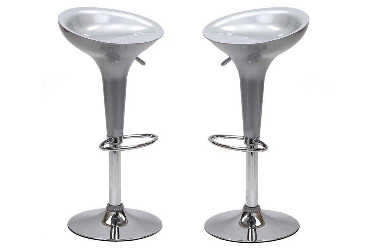 Silver Ice Cream Barstools, Pair