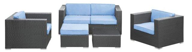 Las Olas 5-Pc Sofa Set, Espresso/Blue
