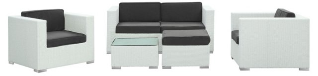 Las Olas 5-Pc Sofa Set, White/Black