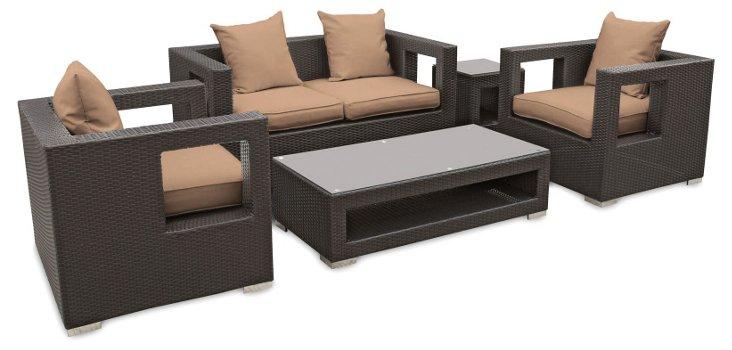 Carmel 5-Pc Sofa Set, Espresso/Mocha
