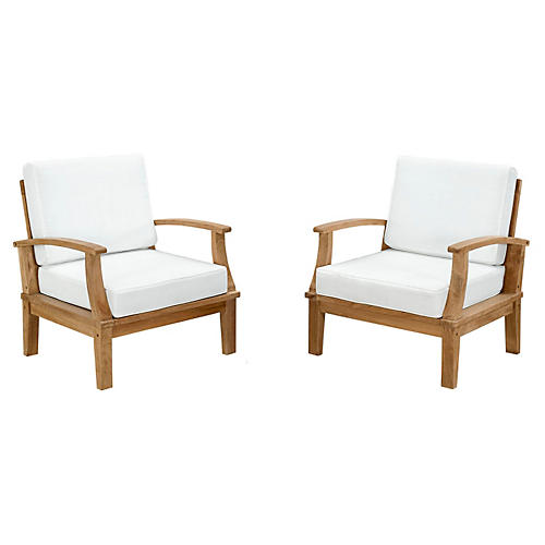 Marina 2-Pc Outdoor Arm Chairs, White