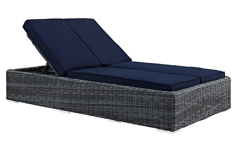Evince Double Chaise - Navy