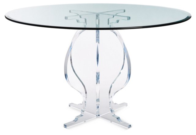 "Sweeney 48"" Round Acrylic Dining Table, Clear"