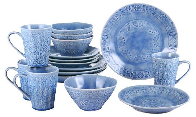 16-Pc Merkado Dining Set, Blue