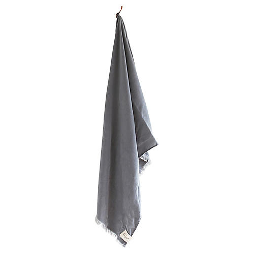 Stonewashed Cotton Bath Towel, Ash