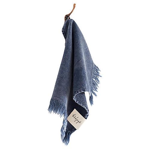 Stonewashed Cotton Washcloth, Indigo