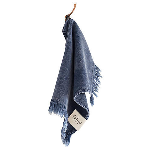 Stonewashed Cotton Washcloth, Indigo