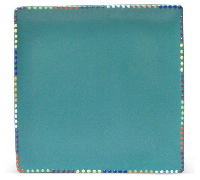 Square Platter w/ Dot Rim