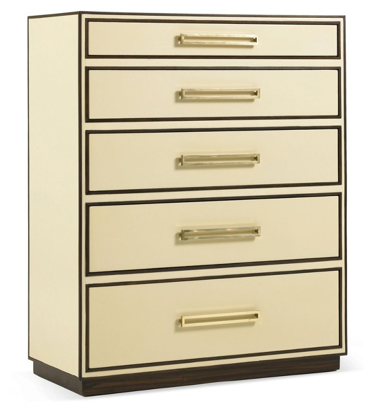 "Aria 38"" Leather Chest, Cream"