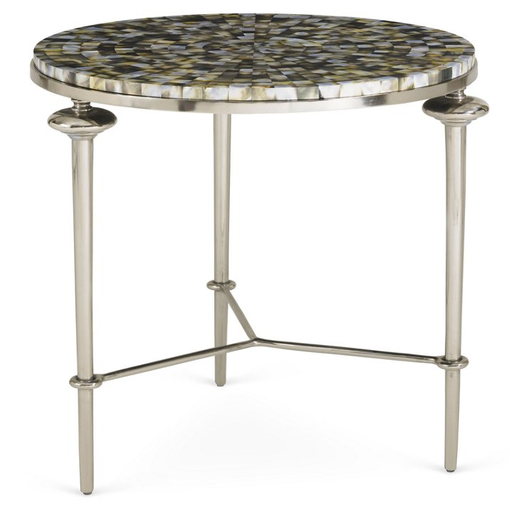 """Shell 26"""" Round Side Table, Silver"""