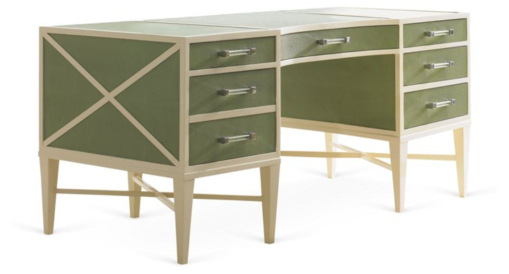 Mist Leather Writing Desk, Green/Cream