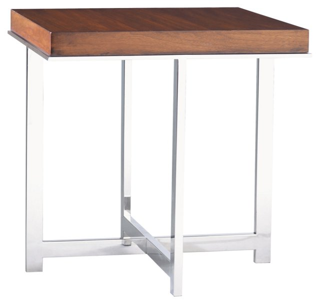 Taylor Side Table, Walnut/Silver